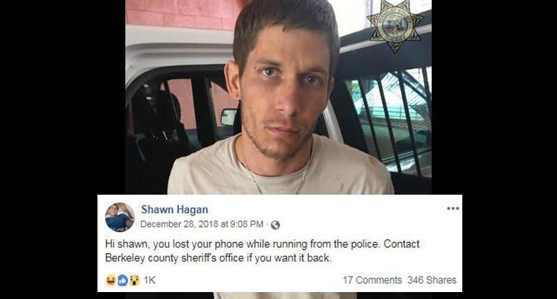 S.C. sheriff's office trolls suspect who dropped cellphone while running away