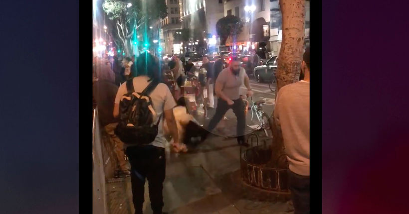 VIDEO: Man punches 2 young women on street in dispute over hot dog; LAPD investigates