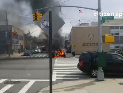 Half-naked man shot by cops after setting car on fire at precinct