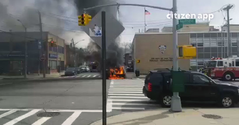 Half-naked man with knife shot by cops after setting car on fire at NYPD precinct: officials