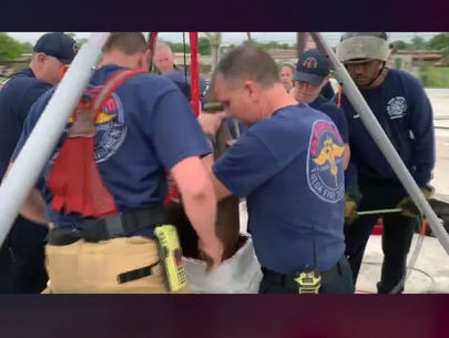Oklahoma firefighters rescue suspected burglar stuck in chimney