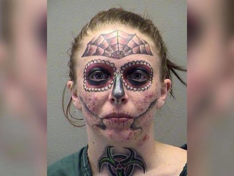Woman with memorable face tattoo arrested for 3rd time in 6 months