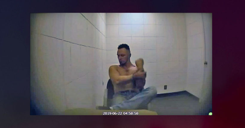 Assault suspect caught on camera hitting himself in face in Oklahoma jail