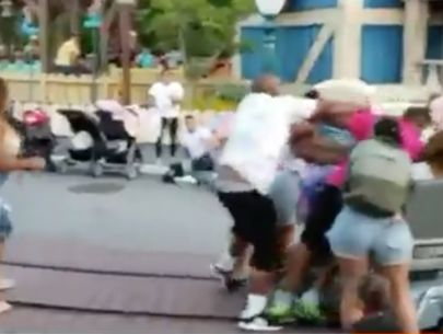 Violent family brawl at Disneyland captured on video as children watch