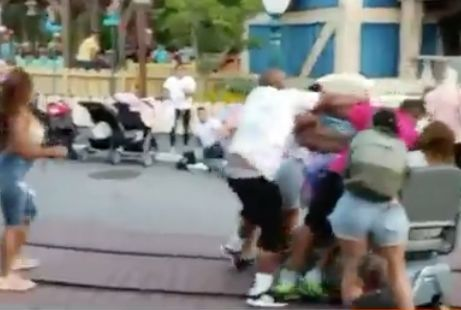 Violent family brawl at Disneyland captured on video as children watch
