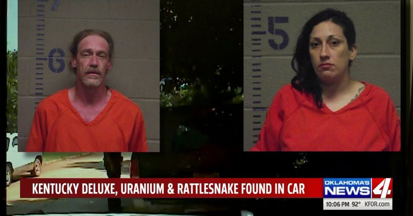 Man allegedly drove stolen vehicle filled with uranium, a rattlesnake, and Kentucky Deluxe