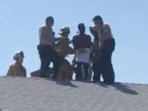 Video: Naked burglary suspect found stuck in chimney