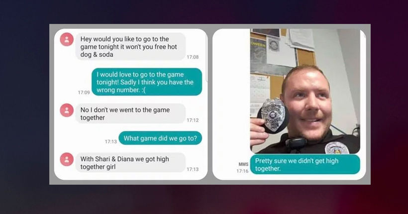 'We got high, girl!' Wrong number text busted by officer