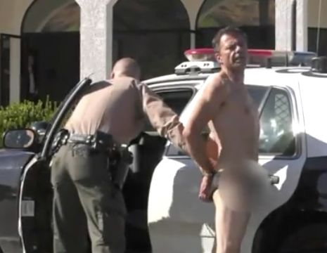 Nearly nude man arrested after vandalizing church, running on freeway