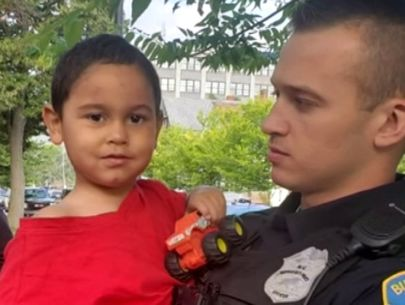 Boy found on porch a mile from burned car containing human remains