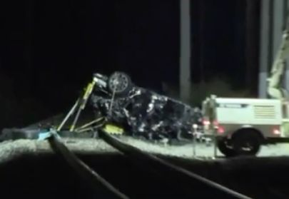 Two teens killed when car plunges off overpass, bursts into flames