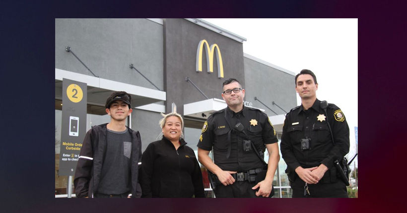 McDonald's employees call police, hold up drive-thru line after woman signals she's in trouble