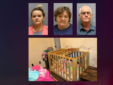 Kids reportedly locked in cages in Alabama home; 3 adults arrested