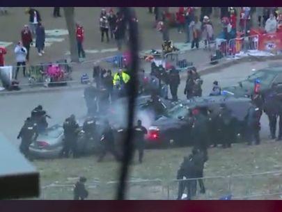 Pursuit ends in crash along K.C. Chiefs parade route; arrests made