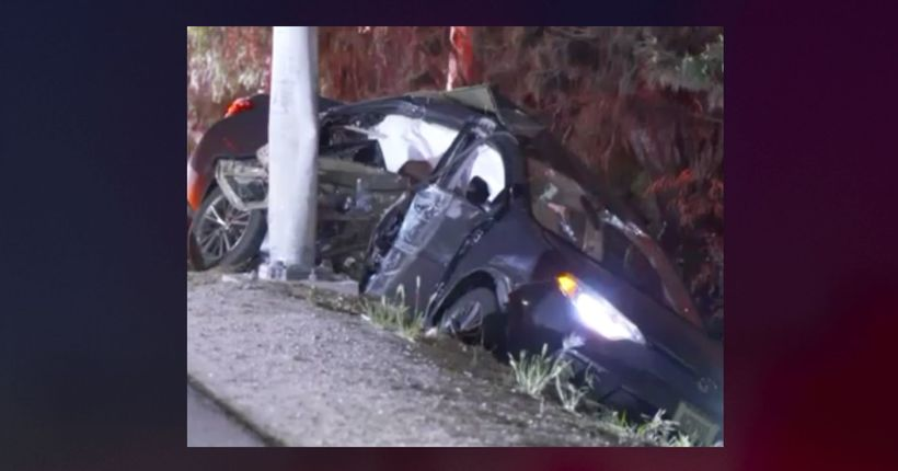 3 teens injured, including 1 critically, after stolen vehicle pursuit ends in crash on 405 Freeway in Van Nuys