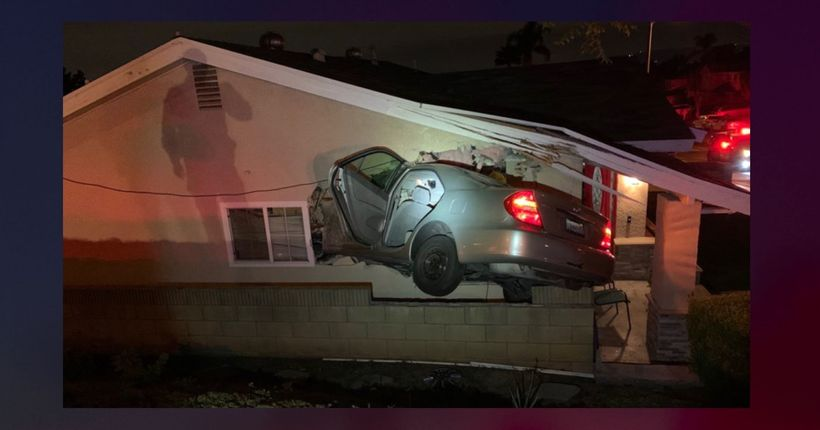 Video: Driver, passenger run away after smashing car through Rowland Heights home