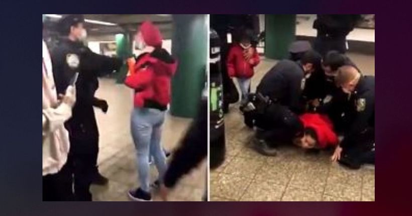 Video: Brooklyn subway station arrest after face-mask confrontation