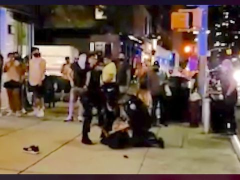 NYPD slams man on ground as restaurants, bars draw crowds
