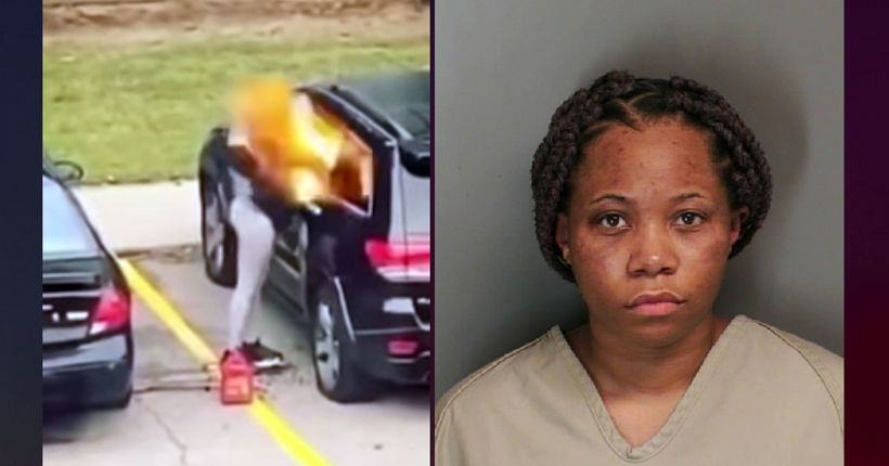 VIDEO: Woman charged with arson after car fire explodes in her face