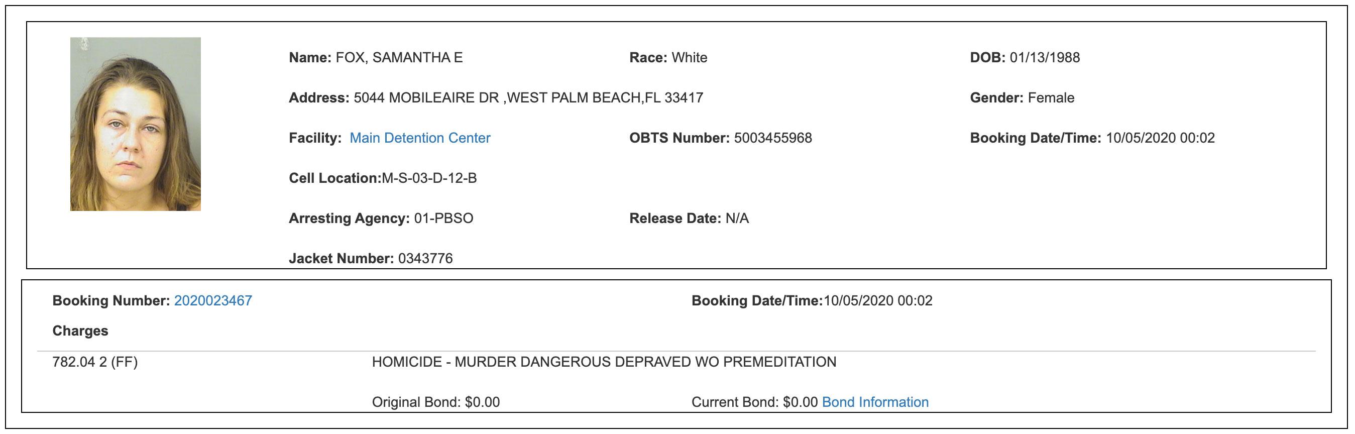 samantha-fox-palm-beach-county-jail-booking