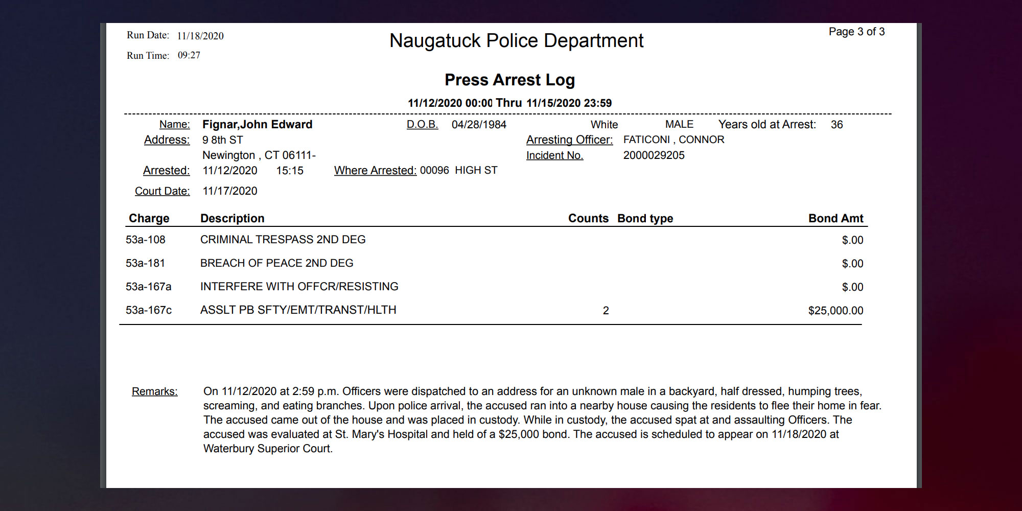 Naugatuck-Police-John-Fignar-arrest-report-tcd
